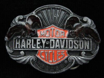 Qj01133 Vintage 1989 **Harley-Davidson Motorcycles** Advertisement Belt Buckle