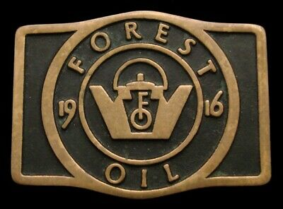 Qb06168 Vintage 1982 Anacortes **Forest Oil - 1916** Solid Brass Oilfield Buckle