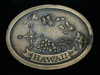 Ph07115 Vintage 1977 **Hawaii** Statehood Commemorative Brasstone Belt Buckle