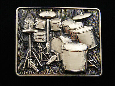 Rg05173 *Nos* Vintage 1980 *Drum Kit* Music Instrument Solid Brass Baron Buckle