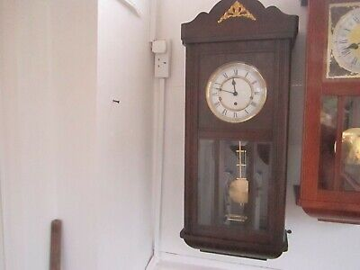 Antique Dark Oak Westminster Chiming Wall Clock In Very Good Working Order