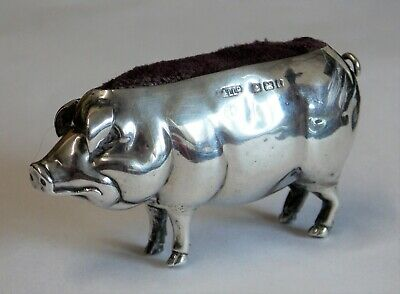 BEAUTIFUL EDWARDIAN Adie & Lovekin NOVELTY SOLID SILVER PIG PIN CUSHION 1906