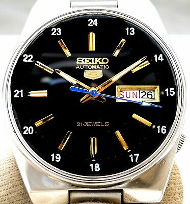 Vintage Japan Seiko 5. Automatic Gorgeous 24H Railway Time Day Date Mens Watch.