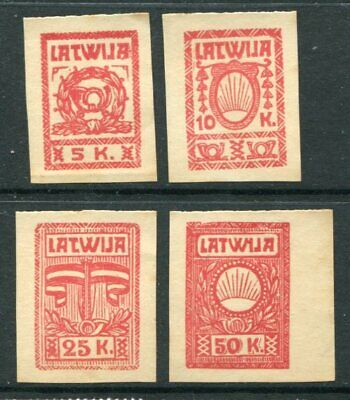 LATVIA Early IMPERF LOCAL Unused Lot 4 Stamps
