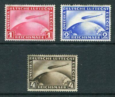 GERMANY 1928-31 AIRMAIL ZEPPELIN Unused Set 3 Stamps