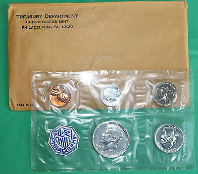 1964 United States 5 Coin Silver Proof Set with Kennedy Silver Half and Envelope