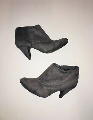 9e43d91bffc7 FIONI Gray Faux Suede Pointed Toe Ankle Kitten Heel Boots   Women s Size 7