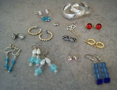 Job Lot 12 x Pairs Earrings, 9 Pierced, 3 Clips Some Marked 925 & Silver VGC