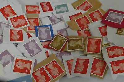 100x standard 1st/ First Class UNFRANKED UK British postage stamps kiloware