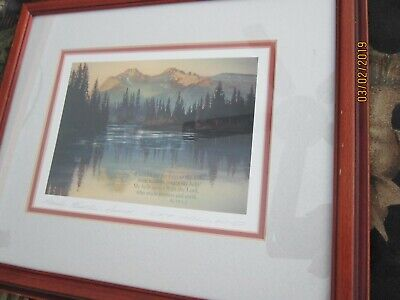 ROCKY MOUNTAIN SUNRISE Print signed by KIFF HOLLAND Framed under glass 12x14""