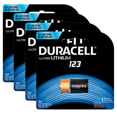 4PK Duracell Ultra Lithium CR123 DL123 3V Battery for Camera/Medical Devices