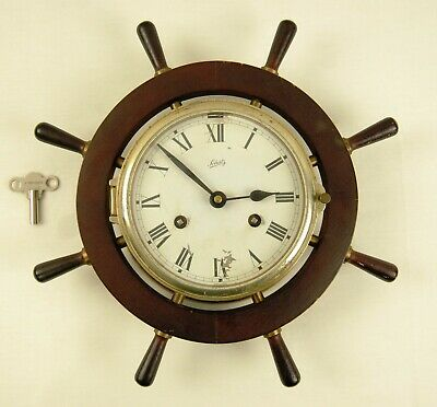 Vintage August Schatz & Sohne Brass Ships Bell Clock with Key - Germany