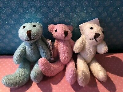 """Teddy Bear Doll Plush Miniature Fully Jointed 3"""" Fibre Craft"""