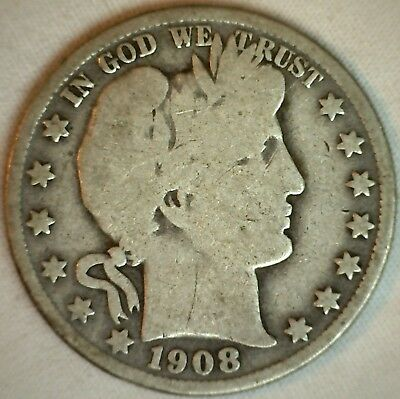 1908 O Barber Silver Half Dollar 50 Cent US Type Coin Good K