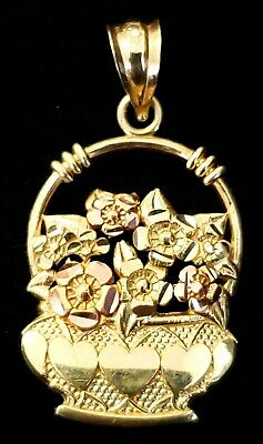 14K Solid Yellow & Rose Gold Diamond Cut Basket Pendant With Hearts & Flowers.