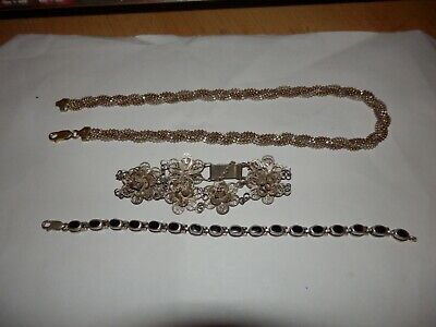 Sterling silver 925 necklace and 2 bracelets, 49 grams