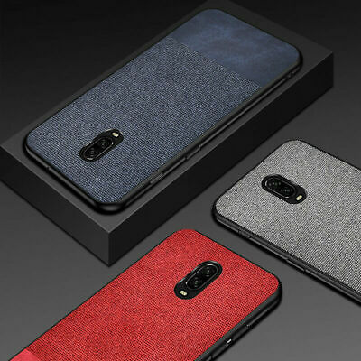 For OnePlus 6 6T Shockproof Slim Fabric Hybrid TPU Leather Matte Back Case Cover