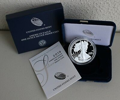 2019 W AMERICAN SILVER EAGLE PROOF DOLLAR US Mint ASE Coin with Box and COA