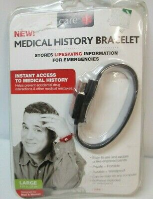 NWT CARE Medical History Bracelet Stores Information (Black - Large) 8.25 inch