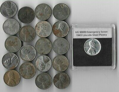 Rare Very Old WWII US Collection Steel Penny USA WW2 20 Coin Unique Cent War Lot