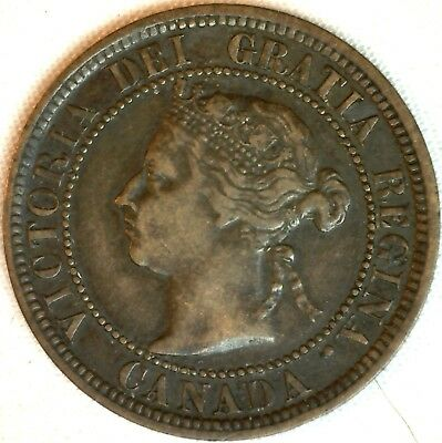 1882 H Copper Canadian Large Cent One Cent Coin Very Fine 30 #21