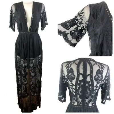 159d3ed28d7 Honey Punch Lace Maxi Romper Size M Long Black Overlay Boho Festival New NWT