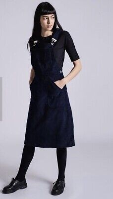 KATE SHERIDAN Dungaree Pinafore Dress BLACK M/L