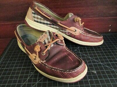 Women's Sperry Top-sider Yellow Leather With Teal Soles Boat Shoes 8.5 M Comfort Shoes