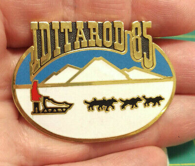 1985 Alaska Iditarod dog sled race tie tac Large lapel Pin, 1000 tough miles