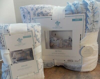 Twin Quilt or Sham Simply Shabby Chic Blue Green Garden Stripe King Queen Full