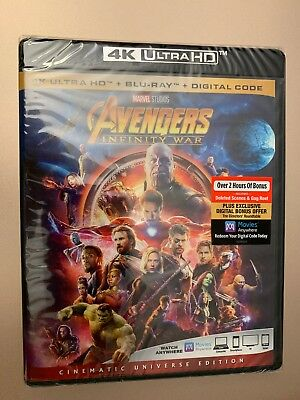 Avengers Infinity War (4k Ultra HD + Blu ray + Digital) New, Fast Shipping