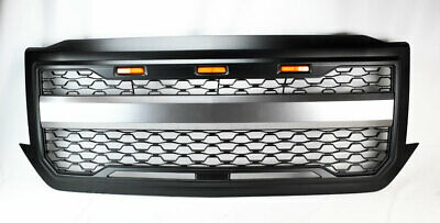 Front Mesh Hood Bumper Grill w/ Amber Lights For Chevy Silverado 1500 2016-2018