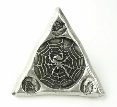 MK Barz Spider Web Stamped Triangle 3 oz .999 Fine Silver Bar #6/500