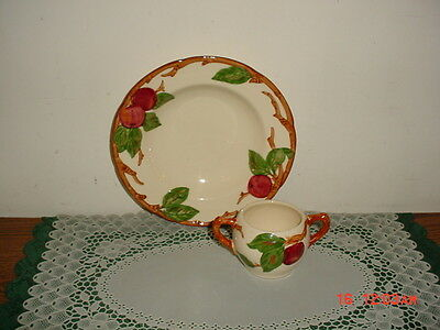 "2-Pc Franciscan ""Apple"" Soup Bowl-Open Sugar No Lid/Stamped/Wht-Red-Grn/Freeship"