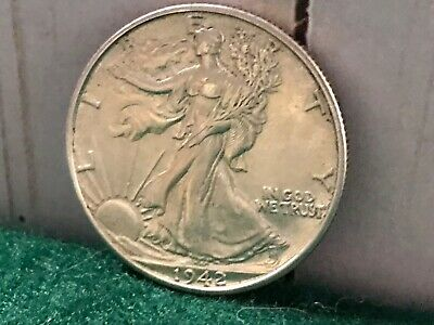 1942-D Walking Liberty Silver Half Dollar, Excellent Details