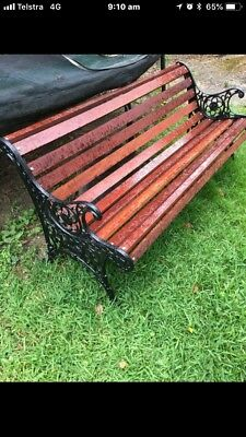 Bench Seat Cast Iron Antique Vintage Park Outdoor Garden