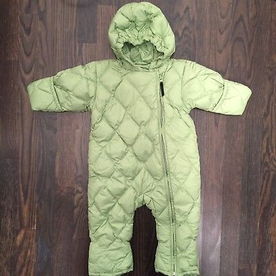 8a556a843 LANDS' END baby Green Quilted Down Puffer Snowsuit 6 Months Bunting