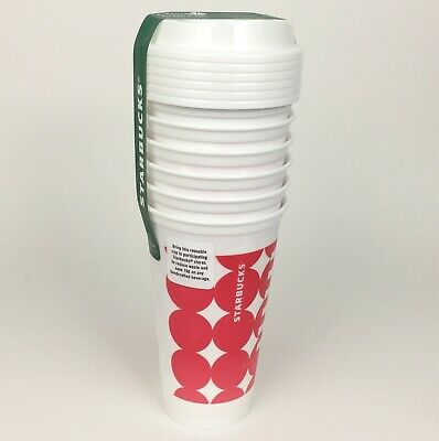 Starbucks Reusable To-Go Cups Classic Logo White Plastic Tumbler Hot Cold 6 Pack
