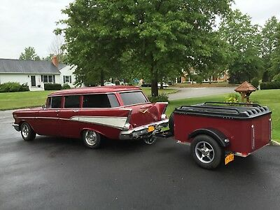 1957 Chevrolet Bel Air/150/210  1957 chevy belair Wagon with trailer