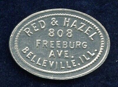 Red & Hazel Belleville Illinois Good For 5¢ In Trade Token St Clair County Oval