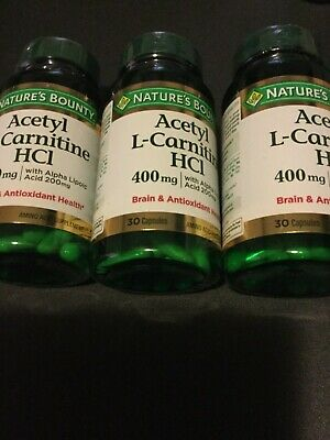 New Sealed Nature's Bounty Acetyl L-Carnitine HCl 400mg 30 capsules Exp. 09/2019