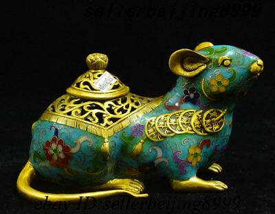 China Bronze Cloisonne Enamel 12 Zodiac Year Mouse Incense Burner Censer Statue