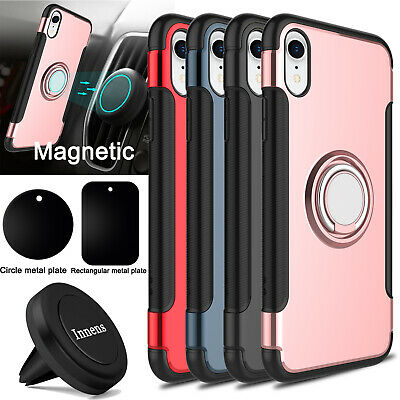 For iPhone XR/XS Max/XS/X Case Cover With Ring Holder Stand+ Magnetic Vent Mount