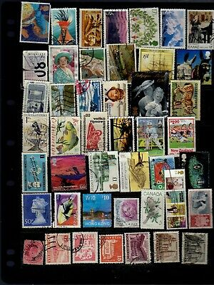 45 all different world stamps - see scan