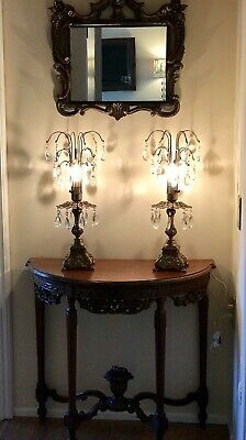 Wonderful Set Of 2 VINTAGE CHANDELIER Table Lamps CRYSTALS