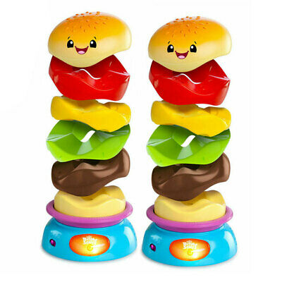 2PK Bright Starts Stack 'n Spin Burger Gourmet/Food Baby Game 6m+ Infant/Toddler