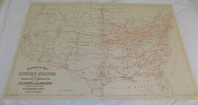1880 Antique COLOR Mitchell Map of UNITED STATES RAILROAD & STEAMSHIP ROUTES
