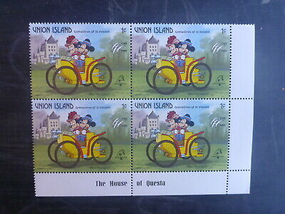 St VINCENTS UNION Is PHILEXFRANCE '89 DISNEY BLK 4 MICKEY & MINI MINT STAMPS MNH