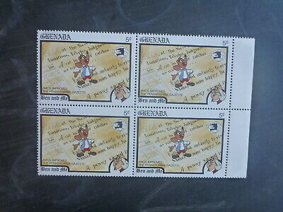 GRENADA 1989 WORLD STAMP EXPO DISNEY CHARACTERS 5c RATE BLK 4 MINT STAMPS