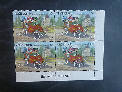 St VINCENTS UNION Is PHILEXFRANCE '89 DISNEY BLK 4 10c RATE MINT STAMP MNH